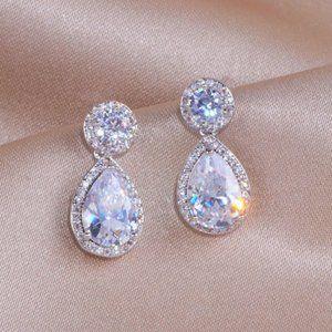 Diamond CZ Water Tear Drop Earrings